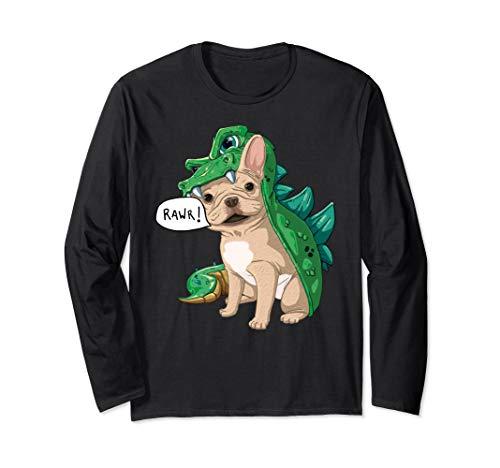 Creme Französische Bulldogge Dinosaurier Kostüm Halloween Langarmshirt