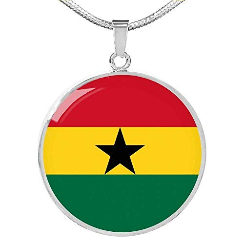 Express Your Love Gifts Ghana Bandera Collar Acero Oro 18k Gold 18-22'