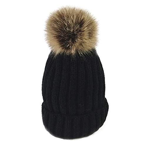 Happy-L Sombrero, Mujeres Chunky Baggy Knit Hat Cute Plus Velvet Grueso Caliente Gorro de Punto,Ocio Fashion Cap. (Color : Beige, Size : Freesize)