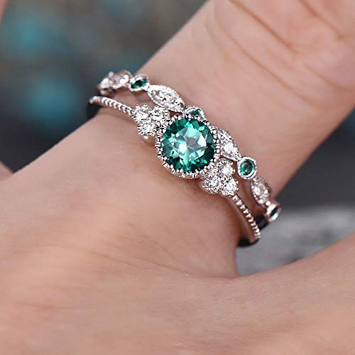 Fashion 2PCS 925 Sterling Silver Natural Emerald Ring Round Cut Cubic Zirconia Promise Rings CZ Classical Eternity Engagement Wedding Band Ring Set for Women (US Code 9)
