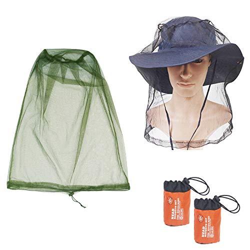 KATOOM Mosquitera para Cabeza, Mosquito Cabeza Net,2pcs Verde y Negro,Cabeza de Insecto Malla para Proteger la de Mosquito en Aire Libre,excursión