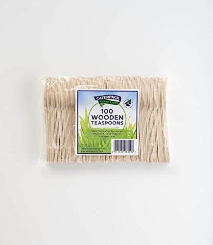 Caterpack Enviro Wooden Teaspoons | 100 Pack | Size: 4.25'