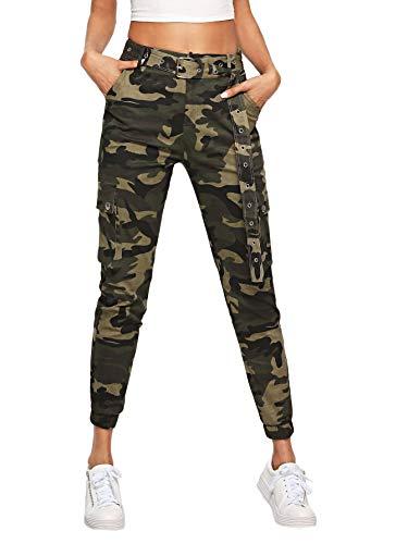 DIDK Pantalon Cargo Femme Pantalon Camouflage avec Ceinture Et Poches Pantalon De Travail Taille Haute Casual Militaire Pants Multicolore 8-M