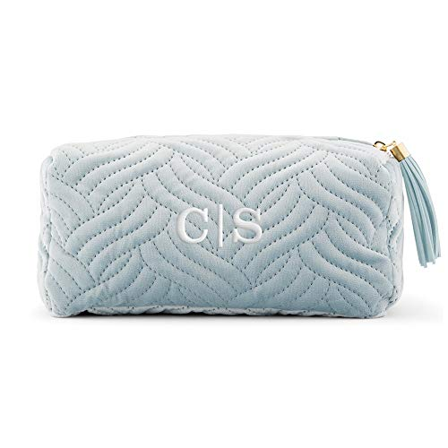 Weddingstar Small Personalized Velvet Quilted Makeup Bag For Women - Spa Blue