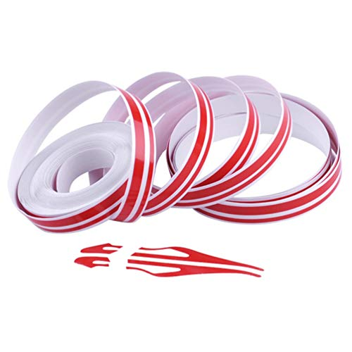 XCBYT Pinstripe Tape Decal for Car - DIY Christmas Decoration Vinyl Pin Striping Decals Auto Waterproof Pin Stripe Tape Emblems Trim Universal for Automobile Musical Instrument Home Door Etc (Red)