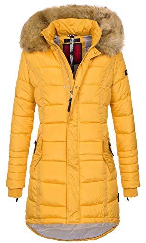 Navahoo Papaya Damen Winter Jacke Steppjacke Mantel Parka gesteppt warm B374 [B374-Papaya-Gelb-Gr.M]