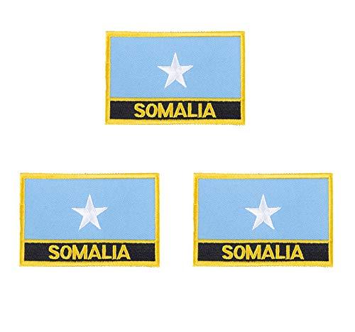 3 x Somalia-Flaggen-Aufnäher, bestickt, zum Aufbügeln oder Aufnähen.