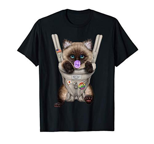 Gato siamés con chupete en portabebé Camiseta