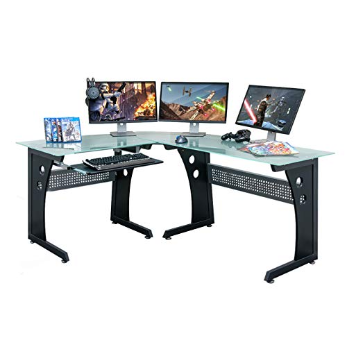 TECHNI SPORT Gaming Desk Collection Envidia - L-Shaped Gaming Desk, Black - Perfect Gaming Desktop Desk (Office Product)
