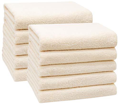 ZOLLNER 10er Set Handtücher, 50x100 cm 100% Baumwolle, 400 g/qm, beige
