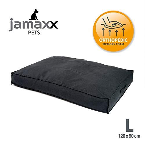JAMAXX Premium Hundekissen in edler Leinen-Optik - Orthopädisch Memory Visco Schaumstoff/Waschbar Abnehmbarer Bezug/Wasserabweisender Innenbezug - Hundebett PDB1005,120x90 (L) anthrazit