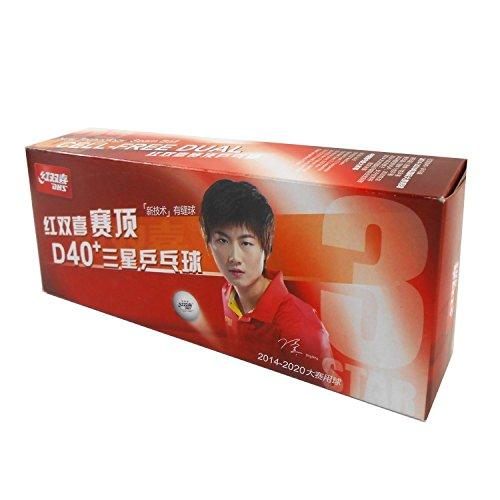 Shanghai Double Happiness Tischtennisbälle Plastikball DHS 3 Stern weiss 40+ ITTF, 40 Stücke, original und neu
