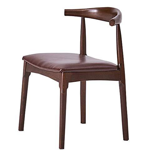 JIEER-C stoel Retro Side Dining Office Lounge stoel bureaustoel Synthetisch leer Hoorn stoel Voor Office Lounge fauteuil Effen beuken benen Bearing gewicht 200kg (Kleur: zwart) BRON