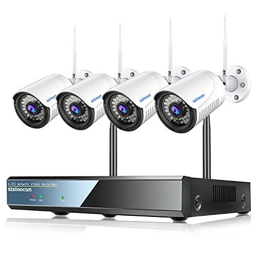 Caméra de Surveillance Kit WiFi Extérieure, 8CH 5MP NVR et 4Pcs 1296P Video Surveillance sans Fil avec Détection de Mouvement, Vision Nocturne, Alerte E-mail,IP66 Imperméable,Branchez & Joue SZSINOCAM