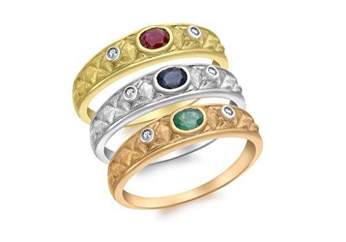 Juego de anillos de satén genuinos de oro de 9 quilates, 3 colores, esmeralda, rubí y zafiro