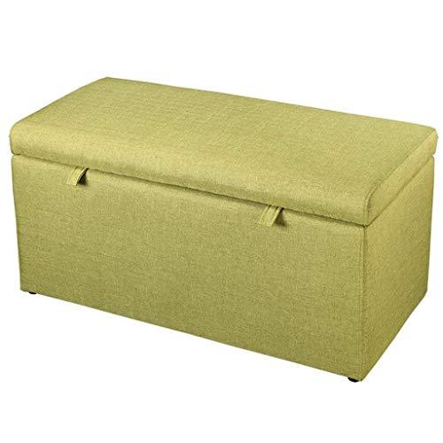 Jiangang ottoman hem förvaring möbler pall pall, minnespuff, litet linne tyg klädsel förvaring bänk till säng pall tyg lin-90 x 43 x 45 cm (färg: Grön)