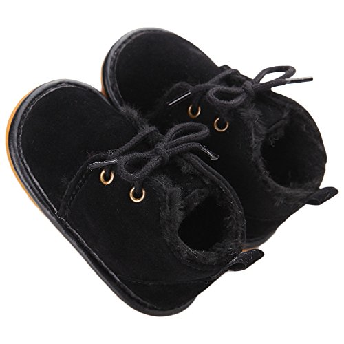 Baby Shoes Winter Plush Rubber Sole Laces Boots Black 3-6 Months