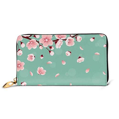 JHGFG Bolso de Moda Cartera con Cremallera Plantilla Horizontal Flor de Cerezo...