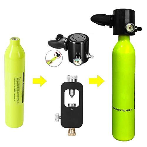 POEO 0.5L Mini Scuba Sauerstoff Tauchausrüstung Luftbehälter Zylinderkopf Ventilmundstück Adapter Schnorchel Unterwasser-Atemgerät