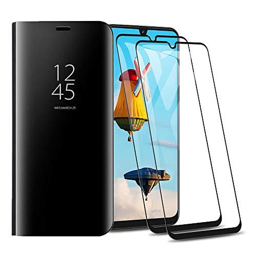 HAOYE Hülle für Xiaomi Mi Note 10 Hülle + [2 Stück] Panzerglas Schutzfolie, Spiegel Handyhülle PU PC Flip Business-Stil Case Cover, Stand Mirror Ledertasche BookStyle Schutzhülle. Schwarz