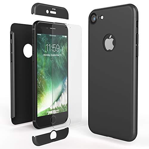 NALIA Custodia Integrale compatibile con iPhone 7, Cover Protettiva Fronte e Retro & Vetro Temperato, Case Rigida Protezione Telefono Cellulare Bumper Sottile, Colore:Nero