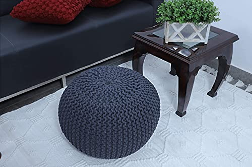 Fernish Décor Hand Knitted Cotton Ottoman Pouf Footrest 20x20x14 INCH for Living Room Accent Seat (Dark Grey)