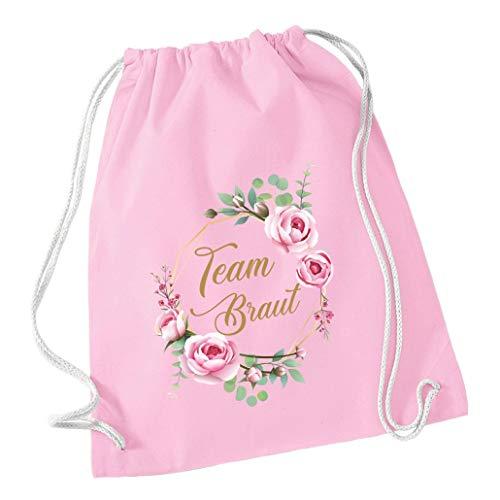 Mein Zwergenland Livingstyle & Wanddesign Junggesellinnenabschied JGA Blumenkranz Turnbeutel, 12 L, Team Braut, einzeln, rosa