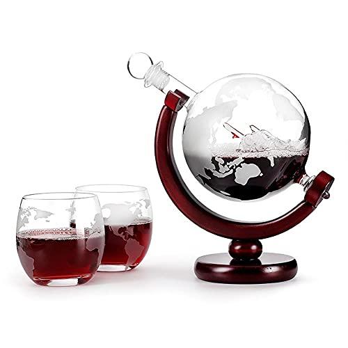 Decantador de whisky, conjunto de globo de Whiskey Decanter de 850 ml, decantador sin plomo con 2 gafas, para whisky, vino, cócteles, licor, escocés, bourbon, vodka