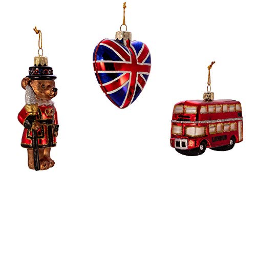 Kurt S. Adler Kurt Adler 4.5-Inch Britain Inspired Glass, Set of 3 Ornament, Multi
