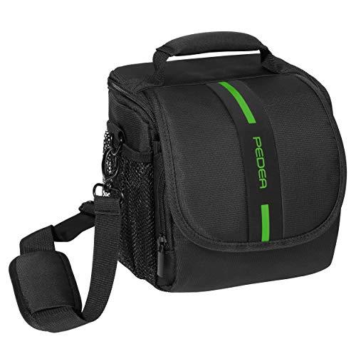 PEDEA DSLR-Kameratasche Essex Fototasche für Spiegelreflexkameras mit wasserdichtem Regenschutz, Tragegurt und Zubehörfächern, Gr. M schwarz/grün