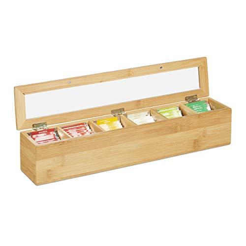 Relaxdays 10031460 Teebox Bambus, 6 Fächer, 72 Teebeutel, Klappdeckel, Aromaschutz, längliche Teekiste, HBT: 9 x 44 x 9 cm, natur
