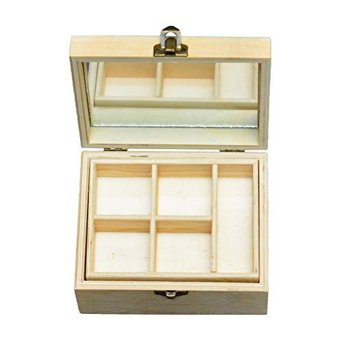 P Prettyia Holz Box Unbehandelt quadratisch Holztruhe mit Deckel Metallverschluss Schatzkiste