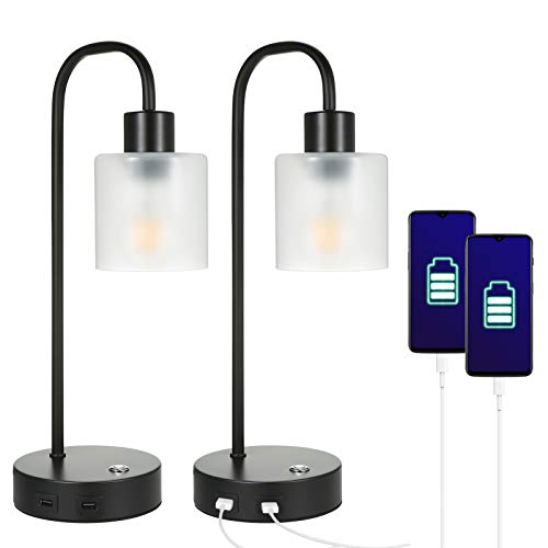 Tomshin+ Retro Touch Bedside Table Lamp with 2 USB,Pairs of Vintage Dimmable Industrial Lamps for Bedroom Living Room Lounge,Brightness Adjustable LED Edison Bulb Included