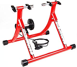 Jeterndy Bike Trainer, Wire-Controlled Indoor Variable Resistance Indoor Bike Trainer for Road & Mountain Bicycles Turbo Trainer (Color : Red, Size : 26-28')