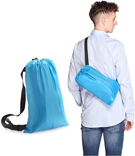Sofá hinchable, portátil, impermeable, saco de dormir con bolsillos laterales integrados, cojín de aire libre, saco de dormir para camping, senderismo, piscina y