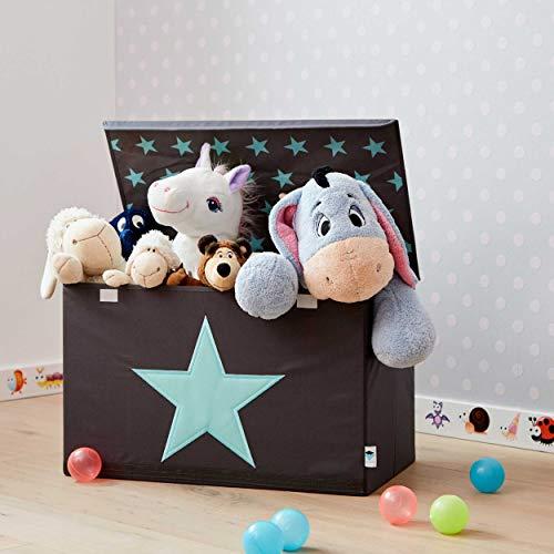 STORE IT - Spielzeugtruhe für Kinder - Truhe mit Deckel - Große Aufbewahrungsbox, Spielzeugkiste für das Kinderzimmer - 62x37,5x39cm - grau/ mintgrün - STERN - 5