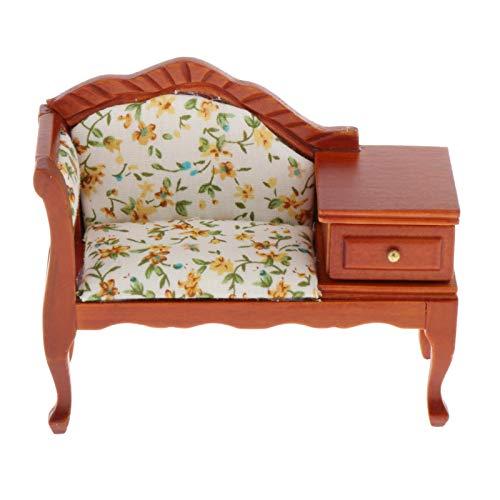 F Fityle Fino 1:12 Escala casa de muñecas Muebles en Miniatura Sala de Estar sofá con diseño de cajón, Victoriano