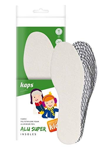 Kaps Alu Super Kids – Thermo Einlegesohlen für Kinder – Aluminiumfolie Schuheinlagen für angenehme Isolierung und Wärme – Schuh Einlagen für warme Schuhe – bequem passgenau zuschneiden