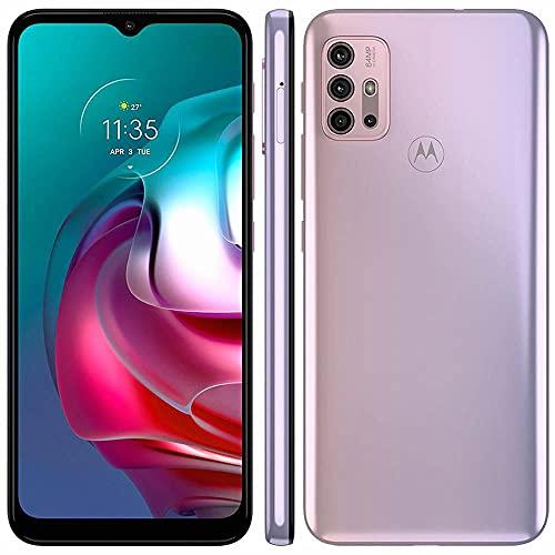 "Smartphone Motorola Moto G30 128GB 4g Tela 6.5"" Câmera Quádrupla 64MP Selfie 13MP Android White Lilac"