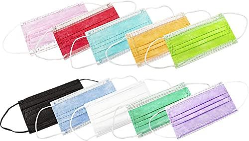 Health Care Made in Italy - (5 sobres de 10) 50 Mascarillas Médico Quirúrgicas multicolor - color -Tipo II -2 - Desechables de 3 capas - Certificado CE - 3 capas - Polipropileno-