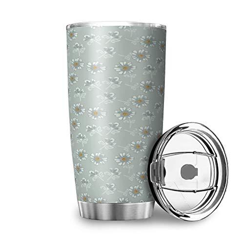 Taza de viaje con tapa, diseño de margaritas y girasoles, de acero inoxidable, con doble pared, diseño 3D, aislado al vacío, 100% hermético, mantiene el calor y el frío, color blanco