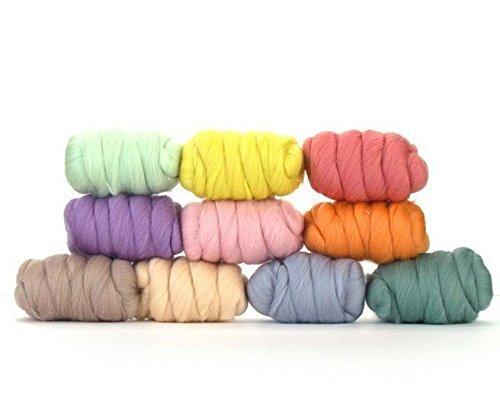 Paradise Fibers Gemischte Merinowoll-Tasche – hübsche Pastellfarben – Merinowoll-Fasern ideal für Nadelfilzen, Nassfilzen, Handspinnen und Mischen.