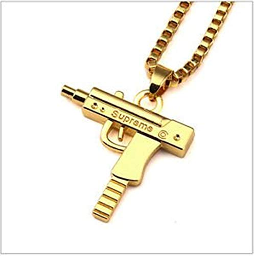 Collana + ciondolo UZI inciso 'SUPREME' gun oro gold color hip hop
