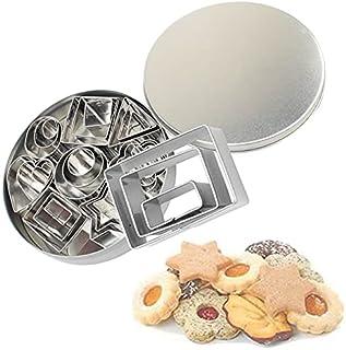 Moules à pâtisserie 24 coupeurs de forme géométrique en acier inoxydable-8 formes/En 3 tailles chacune/Emporte piece patis...