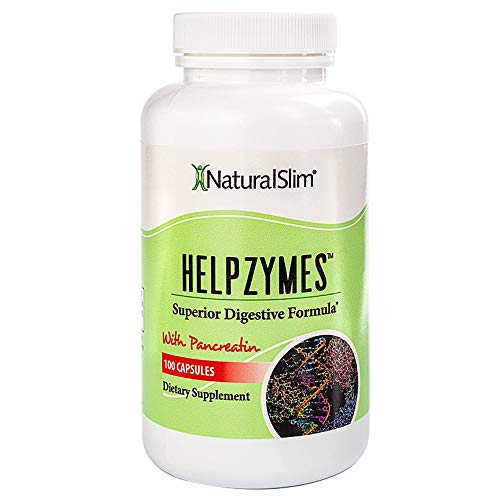 NaturalSlim Superior Digestive Enzymes Formula Helpzymes - Premium Formula for Ultra Digestion & Absorption with HLC Acid & Pancreatin - Metabolism & Weight Loss Support Supplements - 100 Capsules