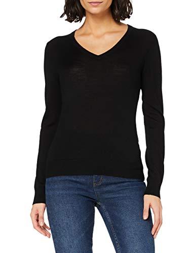 Marchio Amazon - MERAKI Pullover Lana Merino Donna Scollo a V, Nero (Black), 46, Label: L