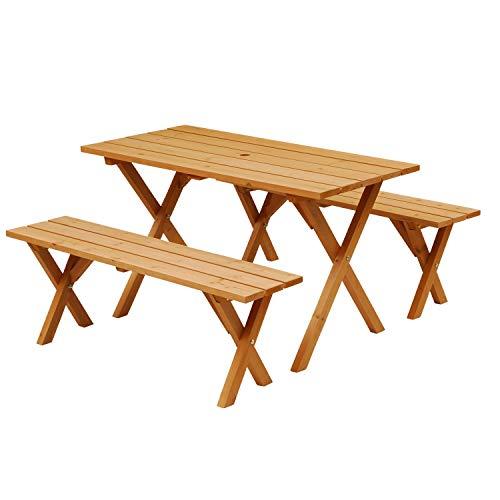 山善 ピクニックガーデンテーブル&ベンチ 3点セット (天然木杉材/パラソルホール付き) PTS-1205S