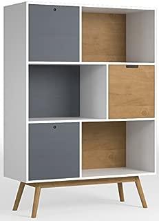 Estantería/Libraria Leti Blanco, Pino Macizo, 3 Puertas, 141 cm Alto