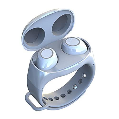 YRX Auriculares Bluetooth Estilo Muñeca Binaural TWS5.0 Compartimento De Carga Y Almacenamiento De Estilo Reloj Deportivo Inalámbrico Portátil,Blanco,A