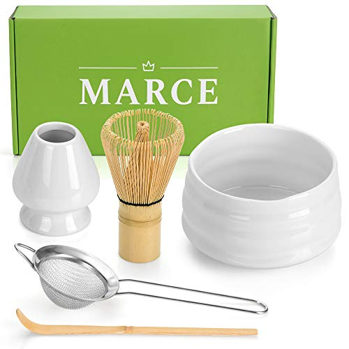 Matcha Tea Set, Bamboo Whisk, Handmade Ceramic Bowl, Whisk Holder, Scoop and Stainless Sifter. Ceremony Starter Kit For Traditional Japanese Tea Ceremony.